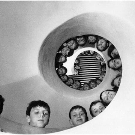"""Children over a Fibonacci Spiral Staircase"" by Henri Cartier-Bresson circa 1900"