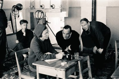 "Ingmar Bergman e Ingrid Thulin preparano le riprese ""Winter Light"", 1963"