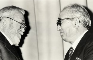 Due icone del cinema, Akira Kurosawa e John Huston, nel 1986 al 38° DGA Awards