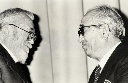 Due icone del cinema, Akira Kurosawa e John Huston, nel 1986 al 38° DGA Awards