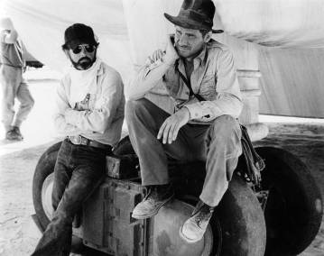 George Lucas e Harrison Ford sul set di Raiders of the Lost Ark