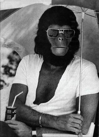 Roddy McDowall sul set de Il Pianeta delle scimmie