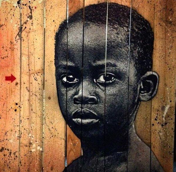 Stencil on wood by Jef Aerosol