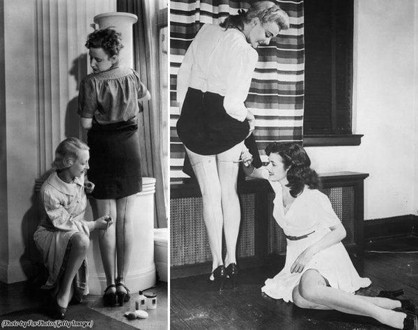 Le donne nel 1940 si disegnavano le calze sulle gambe vista la scarsità di queste durante la guerra