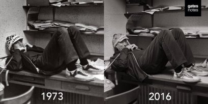 Bill Gates nel 1973 e nel 2016