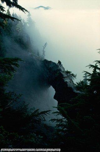 Gli escursionisti su un ponte naturale di roccia sul monte Rainier, Washington 1963