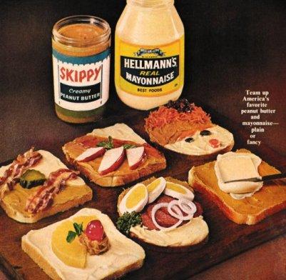 Panino con maionese e burro di arachidi da un annuncio del 1963