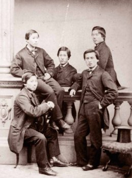 I Chōshū Five, 1863. Hanno studiato all'University College di Londra, quando era ancora illegale lasciare il Giappone