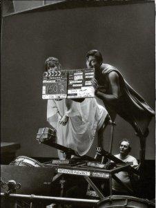 Christopher Reeve e Margot Kidder durante le riprese del primo film di Superman, 1978