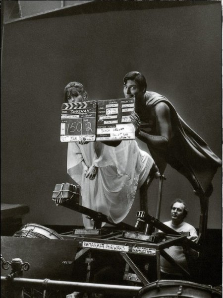 Christopher Reeve e Margot Kidder durante le riprese del primo film di Superman, 1978