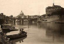 Pesca sul Tevere, a Roma, Italia, 1885