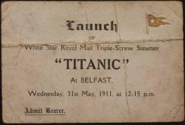 Invito per il lancio del Titanic, circa 1.911