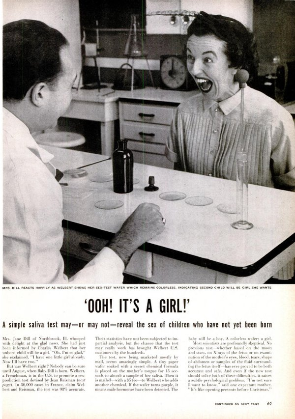 La Signora Dillin in stato di shock dopo che un nuovo test di Charles Wilbert determina che il suo bambino non ancora nato è femmina. Da LIFE, Maggio, 1954