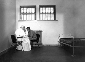 Pope Saint John Paul II meets with Mehmet Agca, the man who attempted to assassinate him, 1983