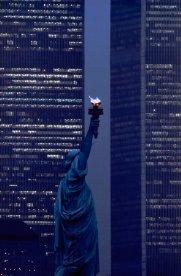 Statua della Libertà e il World Trade Towers 1986