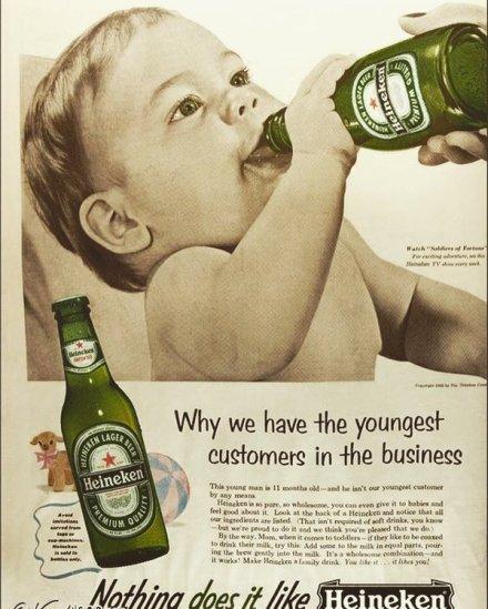 Pubblicità Vintage Heineken (probabile fake: https://twitter.com/vrde/status/773516835228639234)