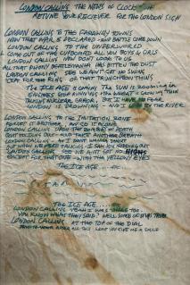 Testo scritto a mano di Joe Strummer per London Calling, 1979