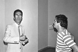 Ugo Ugo e Tonino Casula all'inaugurazione della mostra Immagini Sonore alla Galleria comunale di Cagliari. Foto Enrico Corte, 1981. Per saperne di più: http://montecristowritings.tumblr.com/