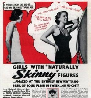 Pubblicità che incoraggia le donne ad aumentare di peso dal 1950