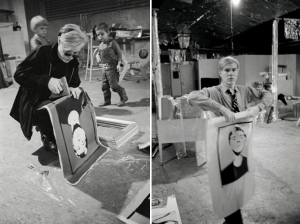 Andy Warhol che lavora su 'Self-Portrait' alla Factory (1964)