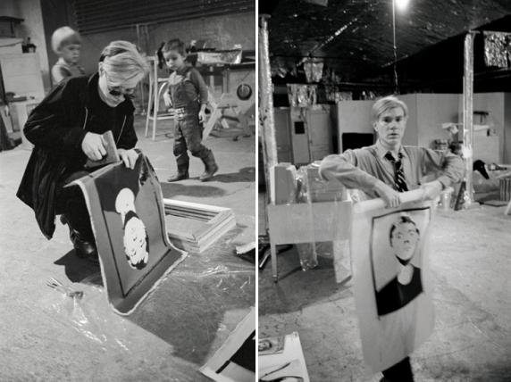 Andy Warhol che lavora su 'Self-Portrait' alla Factory (1964)