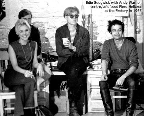 Andy Warhol, Edie Sedgwick e Pietro Heliczer alla Factory (1965)