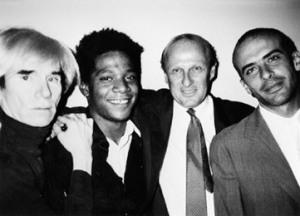 Bruno Bischofberger con Andy Warhol, Jean-Michel basquiat e Francesco Clemente, New York 1984