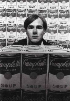 DUANE MICHALS - Warhol with 200 Campbell's Soup Cans and Campbell's Soup Box, c.1962