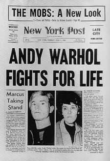 Il New York Post riporta la notizia del tentato omicidio di Andy Warhol