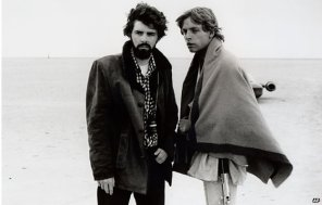 Mark Hamill e George Lucas sul set del film originale di Star Wars