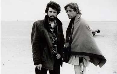 Mark Hamill e George Lucas sul set del film originale di Star Wars