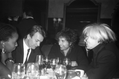 Paige Powell - Sting, Bob Dylan e Andy Warhol, New York City, 1986. © Paige Powell, Reprint Of Image By Permission