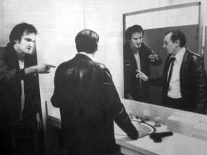 Quentin Tarantino e Steve Buscemi provando una scena per Le iene, 1992