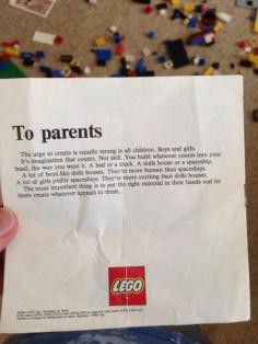 1974, la lettera della Lego ai genitori