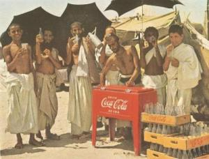 Banco della Coca Cola per i pellegrini alla Mecca