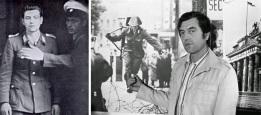 Conrad Schumann alla stazione di polizia Berlino Ovest, 1961 (a sinistra), Schumann nel 1981, durante il 20 ° anniversario del Muro di Berlino (a destra)