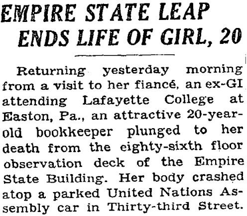 Evelyn erroneamente etichettata come 20enne. NY Times, 2 maggio 1947