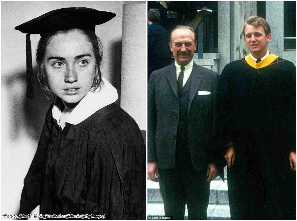 Hillary Clinton e Donald Trump il giorno della laurea, rispettivamente nel 1969 e nel 1964