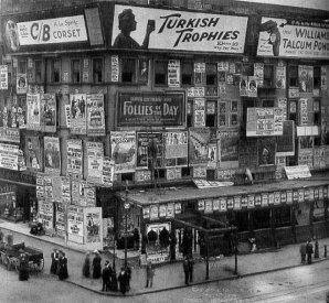 I cartelloni in Times Square, ca. 1900