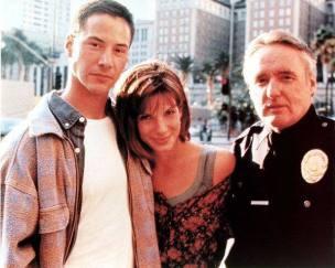 Keanu Reeves, Sandra Bullock e Dennis Hopper sul set di Speed