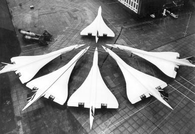 La flotta britannica Concorde in una foto del 1986