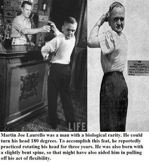 """Martin Joe Laurello, """"l'unico uomo con una testa girevole"""" apparso come fenomeno da baraccone di Sam Wagner a Coney Island nel 1938"""