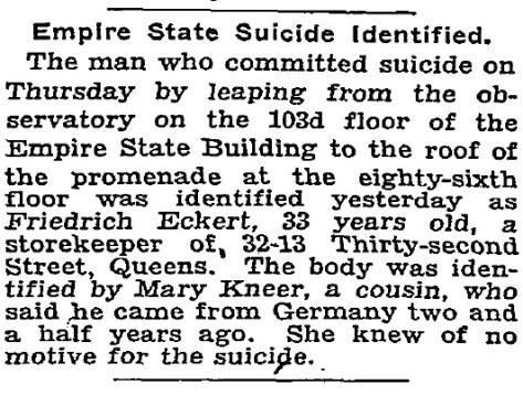 NY Tims, 5 novembre 1932. I suicidi erano molto frequenti sull'Empire State Building