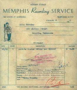 Ricevuta dalla seconda sessione di registrazione di Elvis Presley per la Sun Records, 1954