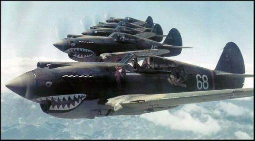 'The Flying Tigers' squadroni, con il loro inconfondibile velivolo squalo, 1940