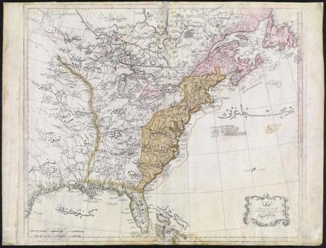 Una mappa ottomana incredibile degli Stati Uniti dal 1803. Sono presenti i nomi degli Stati e delle tribù dei nativi americani a Ovest
