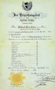 Diploma di Albert Einstein che mostra i suoi voti finali alla Argovia Kantonsschule (su una scala da 1-6)