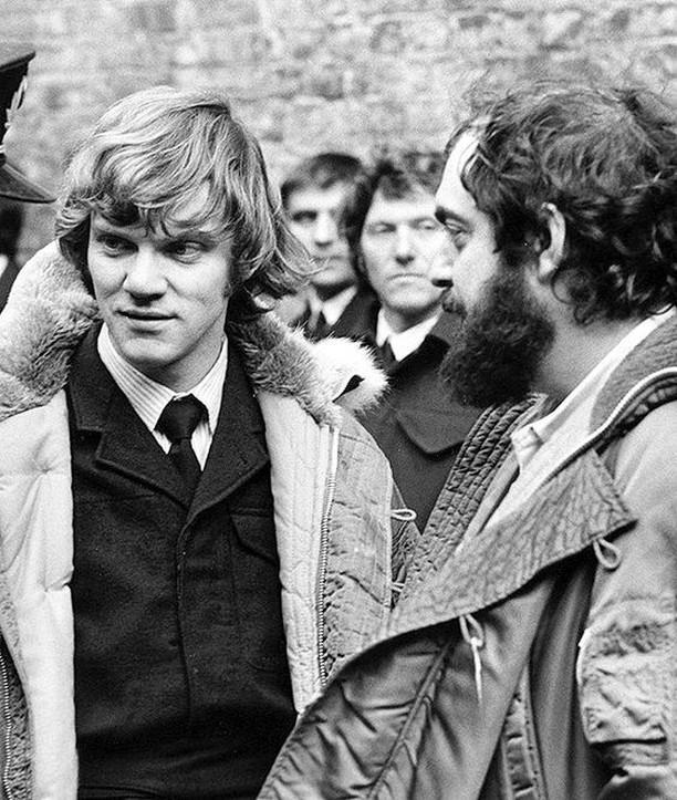 Malcolm McDowell e Stanley Kubrick sul set di Arancia Meccanica
