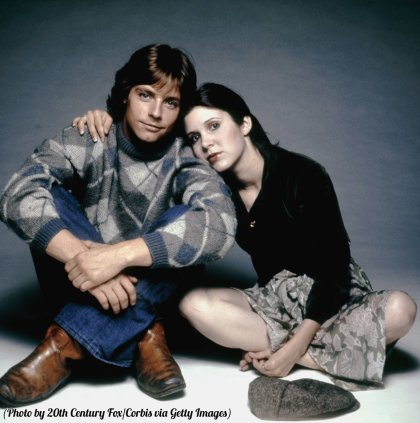 Mark Hamill e Carrie Fisher sul set di Star Wars, 1977