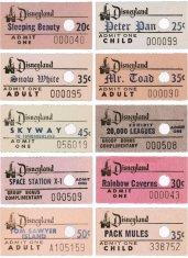 Matrici di biglietti Disneyland, 1960